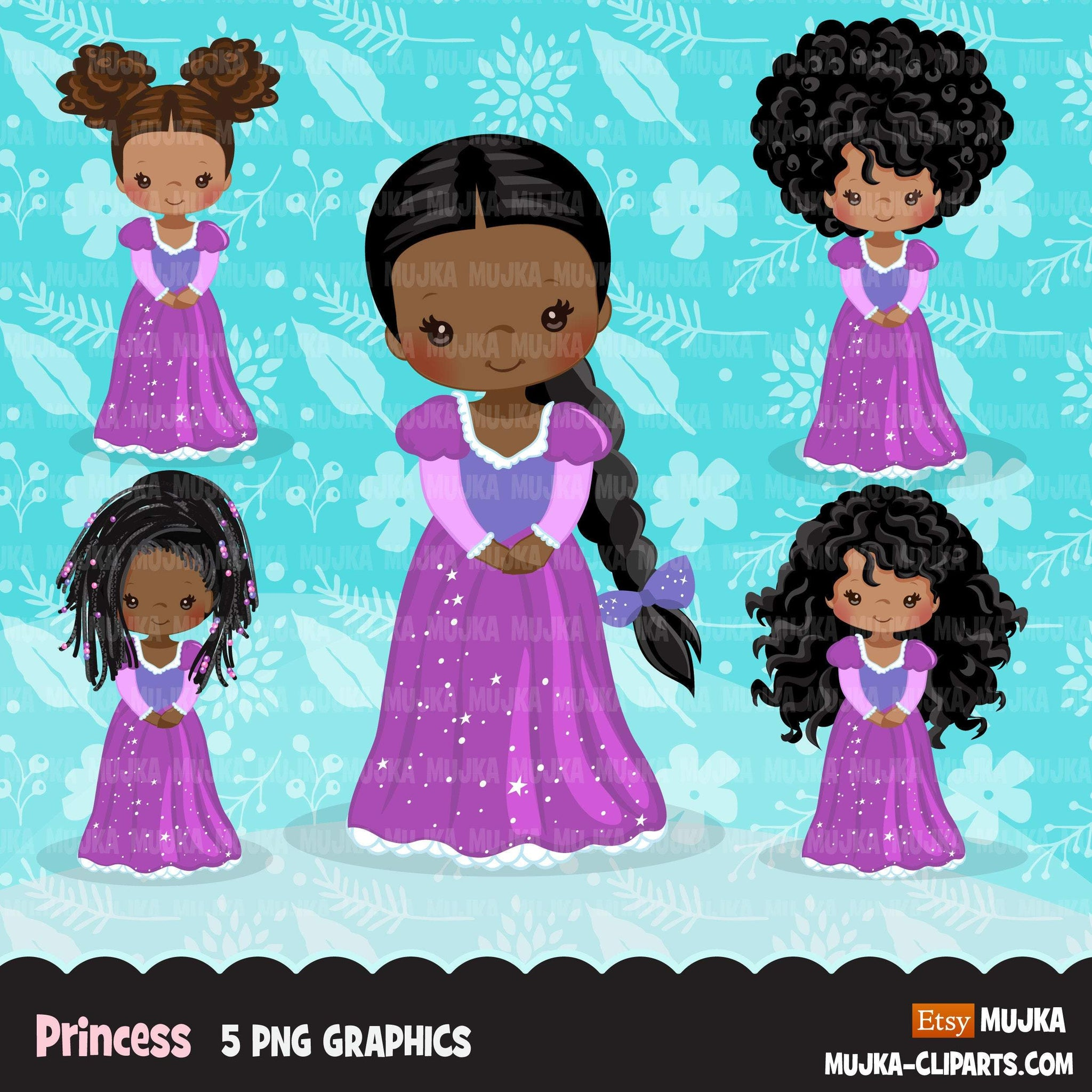 Black Princess clipart, fairy tale graphics, girls story book, purple princess dress, commercial use clip art