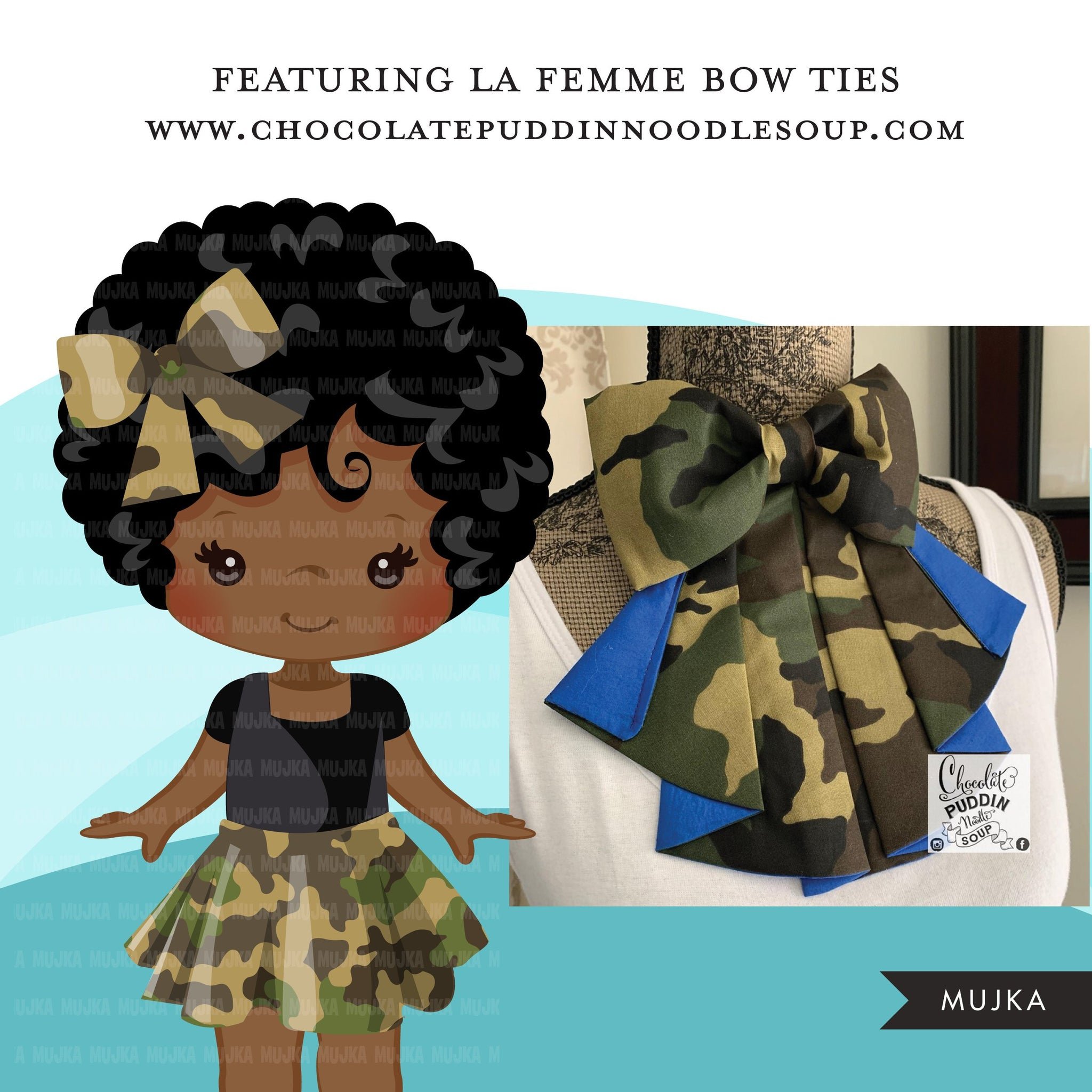Black girl clipart avatar, Ankara camouflage print skirt bow tie, african fabric, black history graphics afro girl clip art PNG