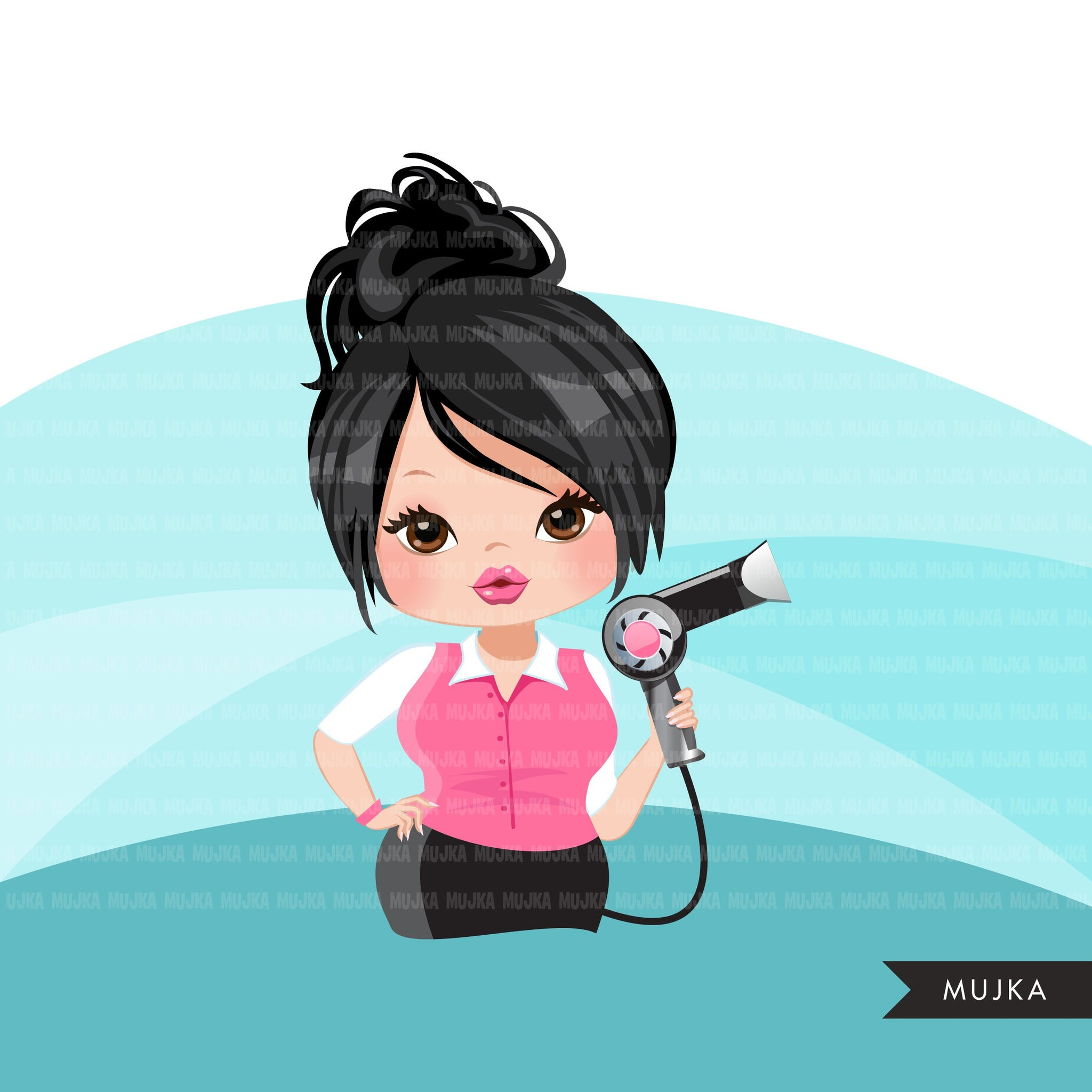 Hair stylist woman clipart avatar with hairdryer, print and cut, shop logo boss hairdresser clip art graphics