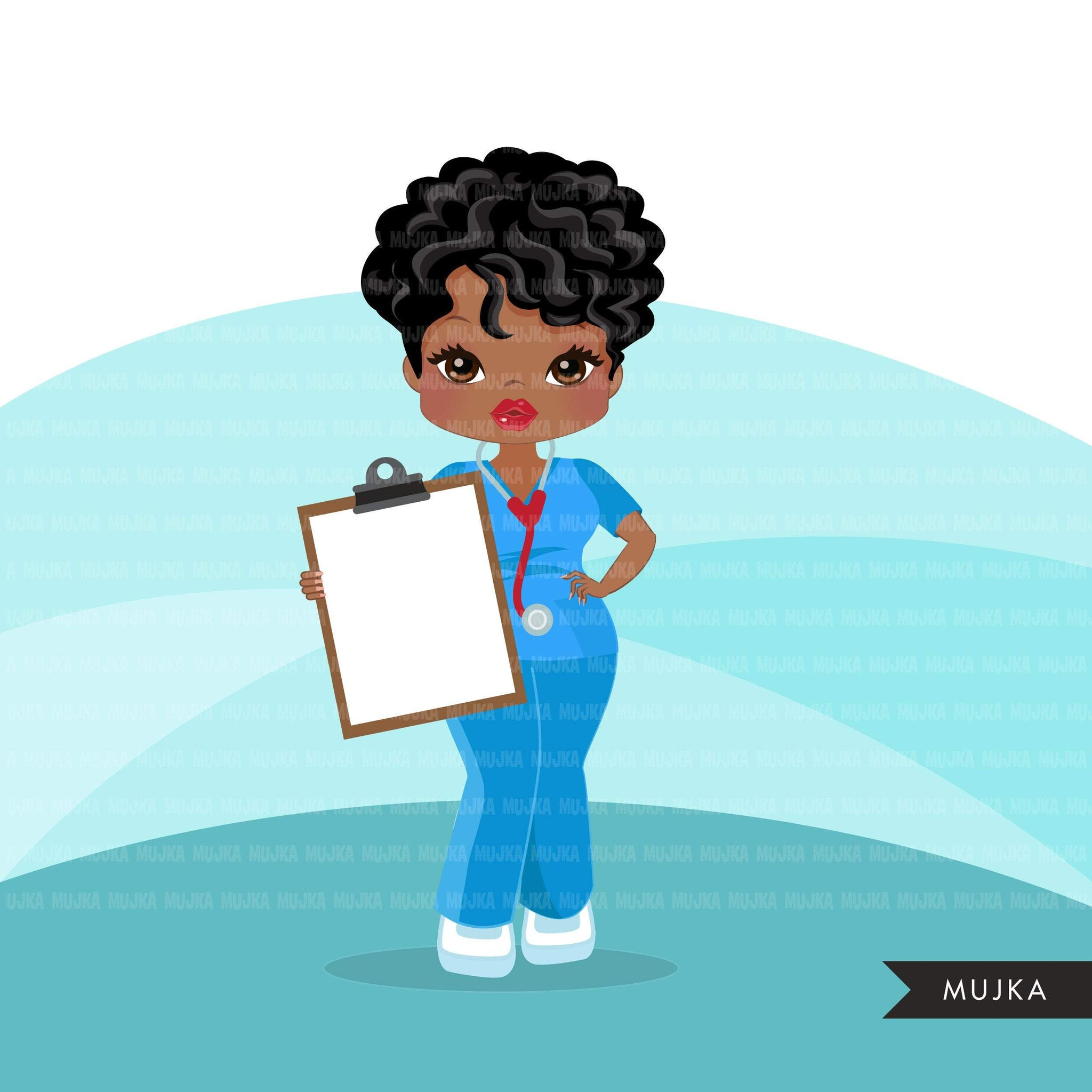 Black nurse clipart with scrubs African-American graphics, print and cut PNG T-Shirt Designs, Black Girls clip art