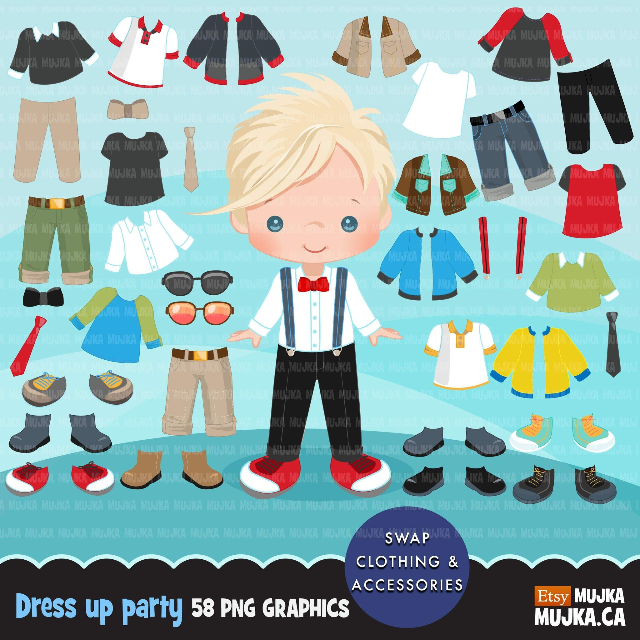 Paper doll clipart, Little Boys Dressing Party Graphics. Cute Characters, spring outfits