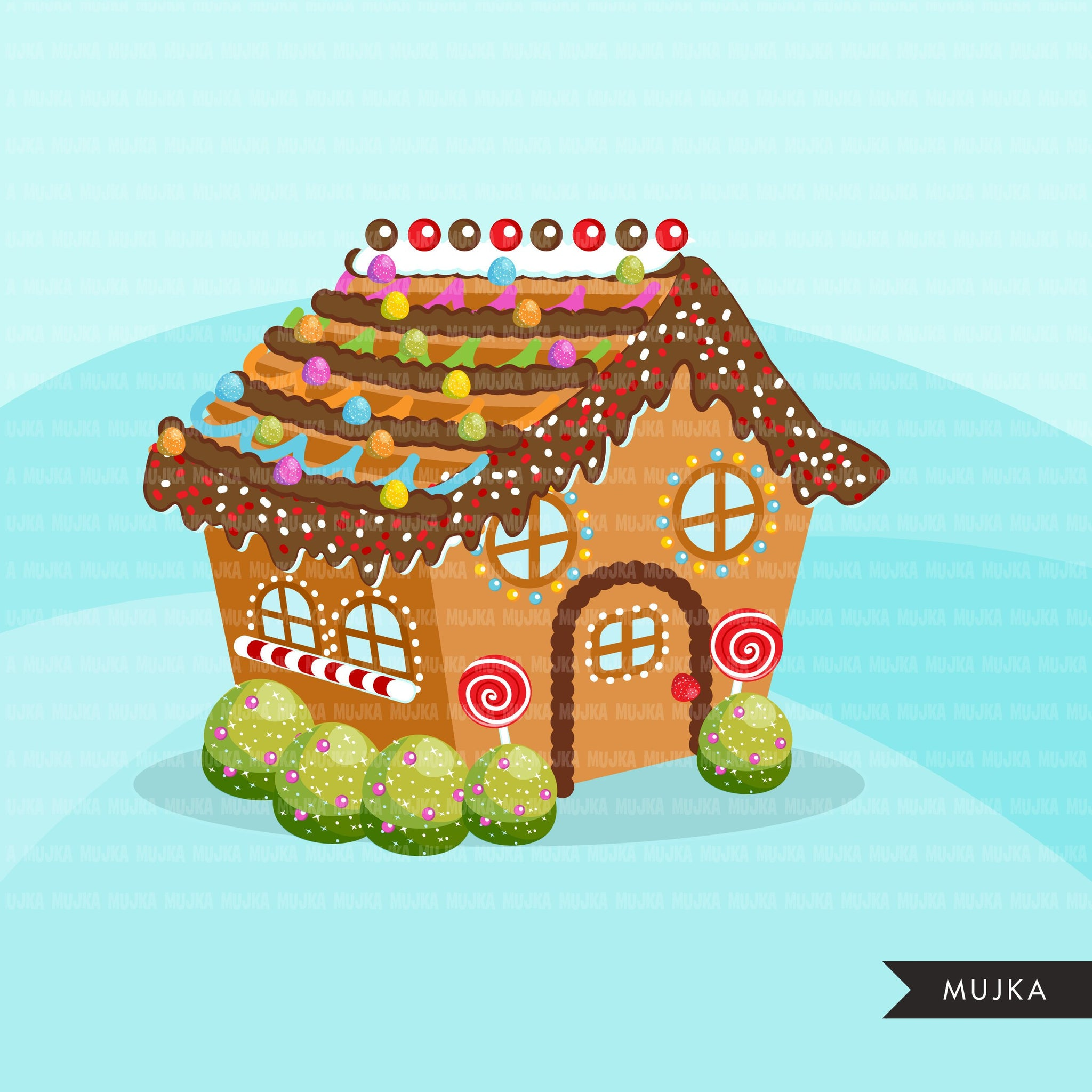 Christmas Gingerbread house creator clipart, Make your own gingerbread home with accessories, commercial use graphics clip art