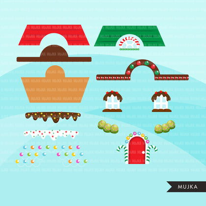 Gingerbread house creator clipart, Make your own Christmas  gingerbread home with accessories, commercial use graphics clip art