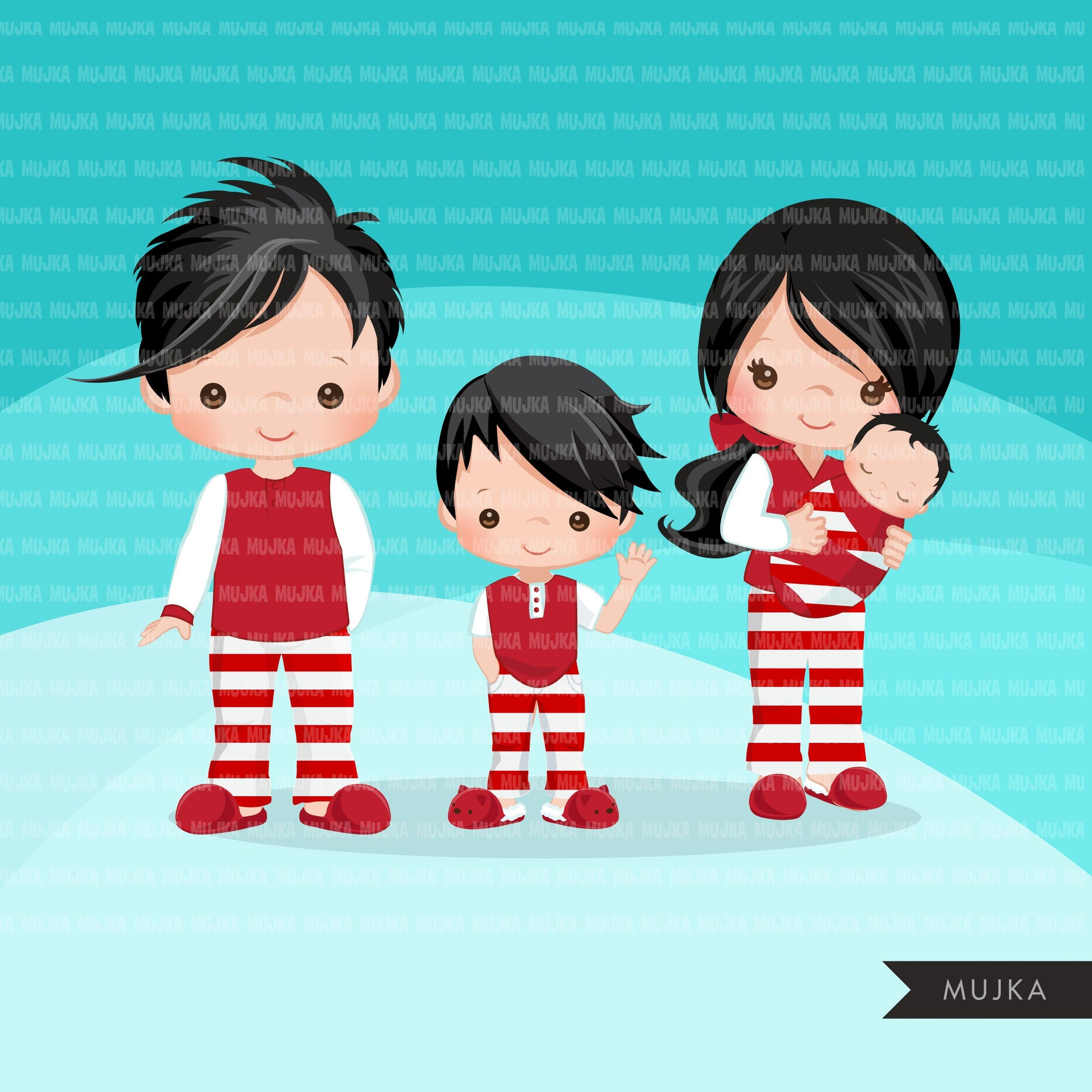 Christmas Pajama family clipart, portraits, mom, dad, grandparents, baby, kids collection, brunette graphics, commercial use