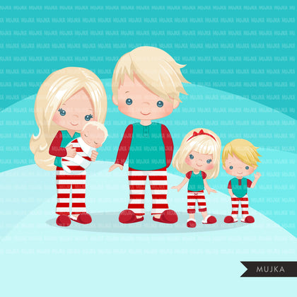 Christmas Pajama family clipart, portraits, mom, dad, grandparents, baby, kids blonde graphics, striped commercial use PNG