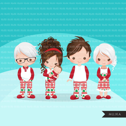 Christmas Pajama family clipart, portraits, mom, dad, grandparents, baby, kids brunette graphics, commercial use PNG