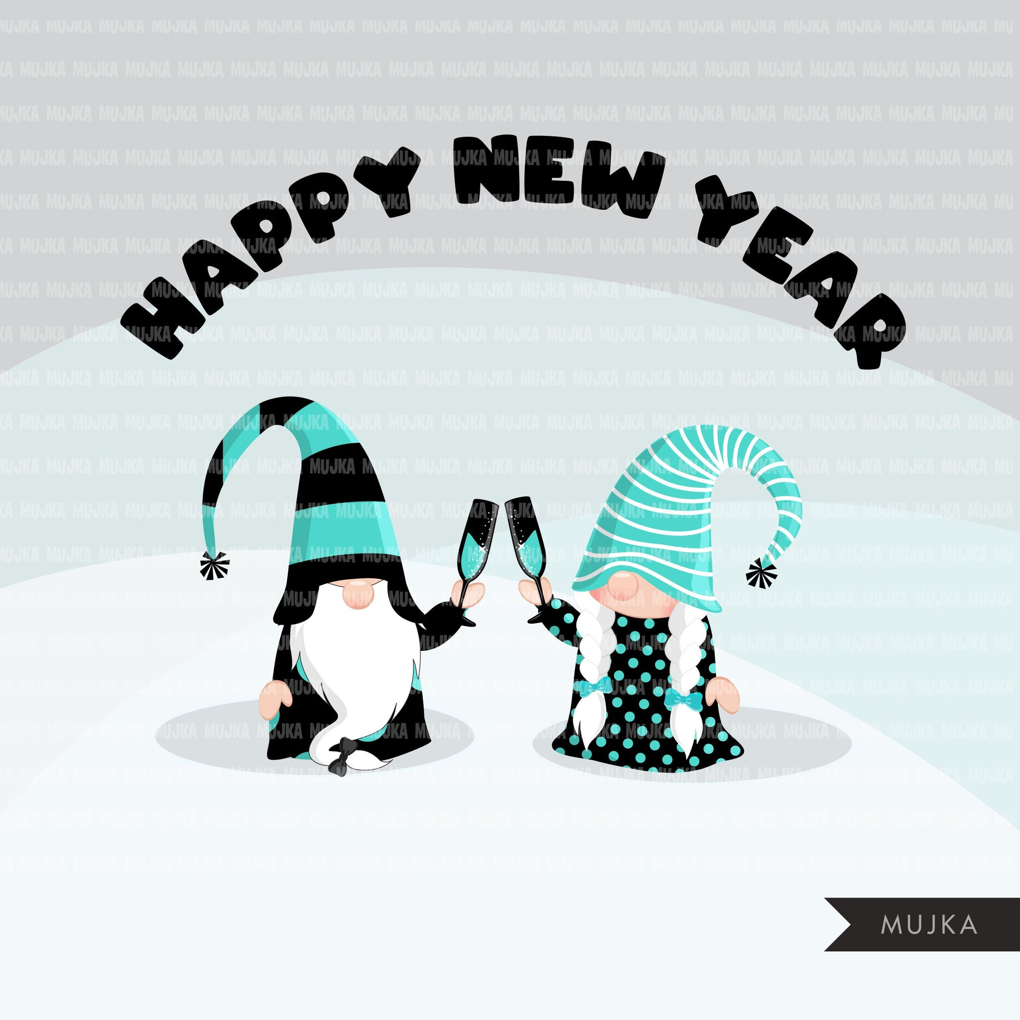 Gnome Clipart, happy New year graphics, celebrating gnomes, balloons, champagne png commercial use teal black
