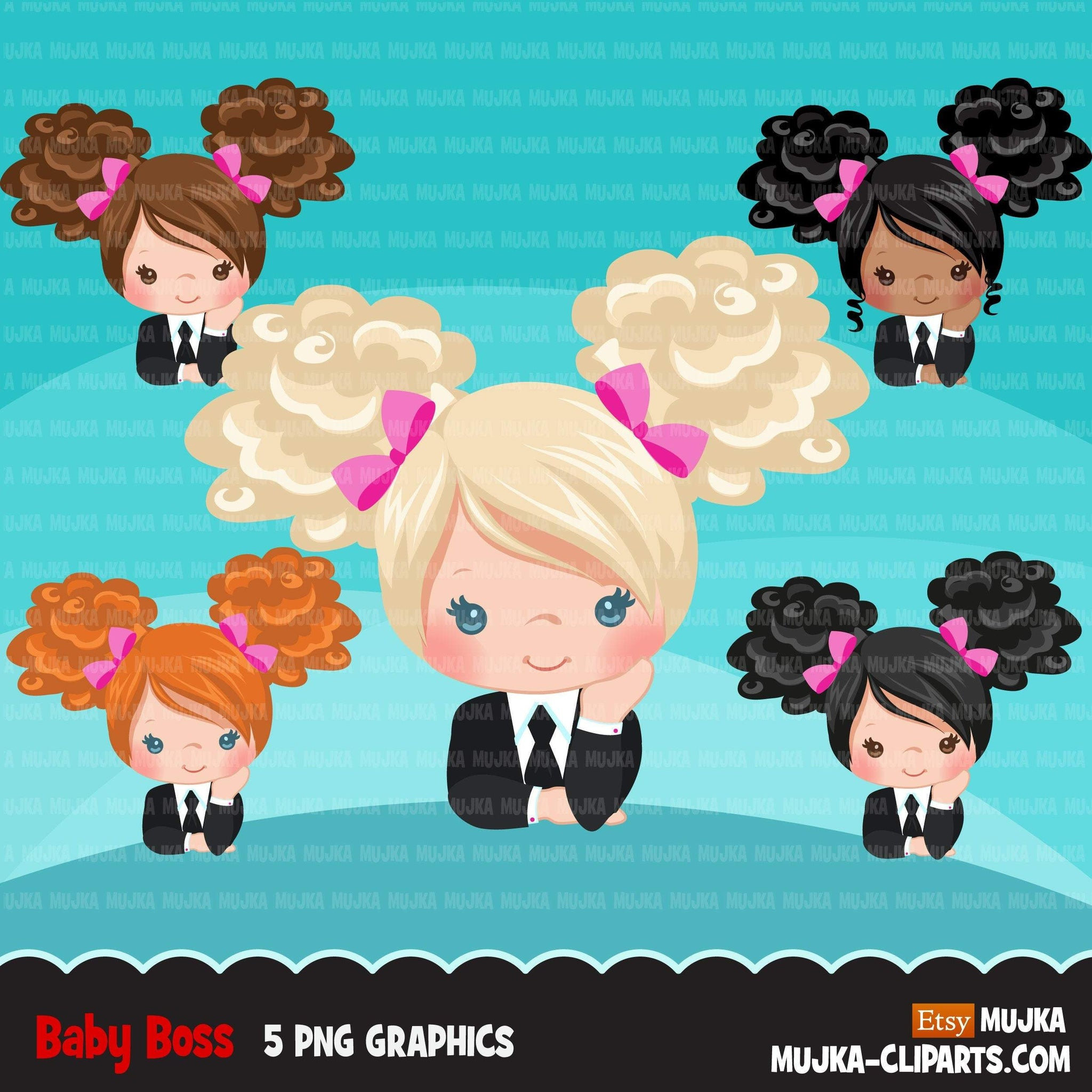 Boss baby clipart, toddler with business suit graphics, afro puff curly girls, commercial use clip art