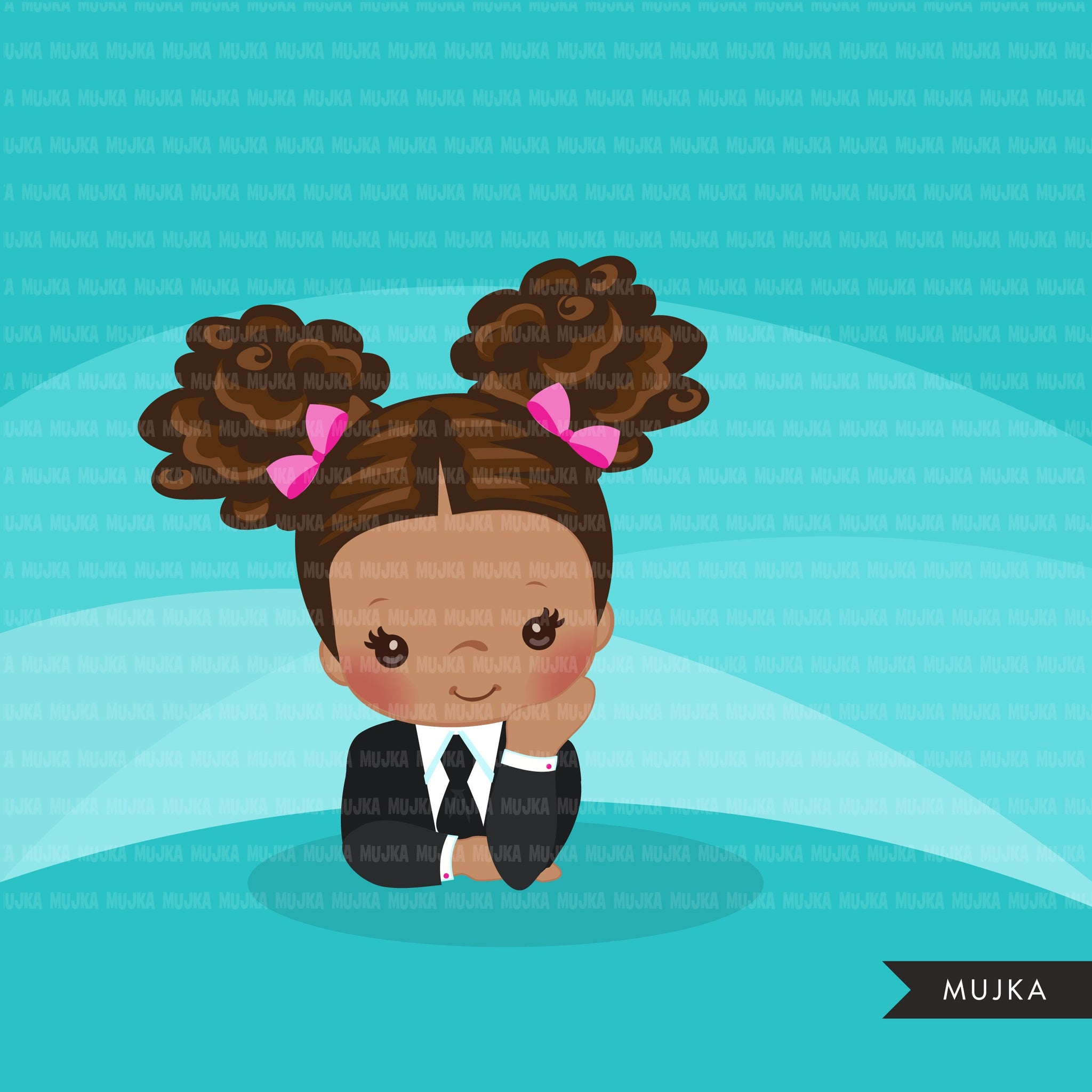Black Boss baby clipart, toddler with business suit graphics, afro curly hair girls, commercial use clip art