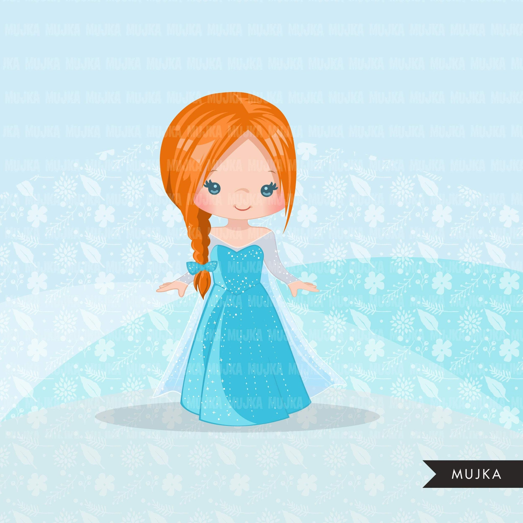 Princess clipart, fairy tale graphics, girls story book, light blue princess dress, commercial use clip art