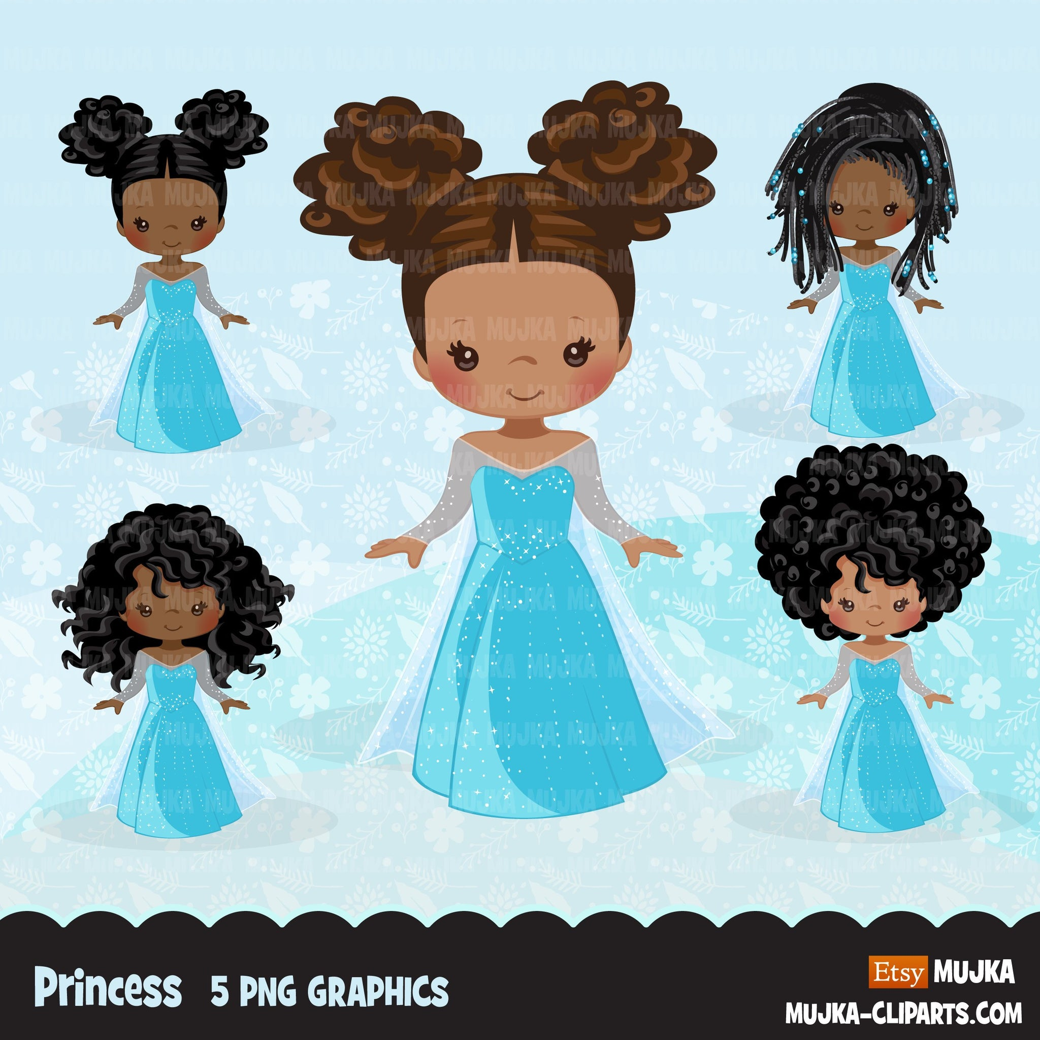 Black Princess clipart, fairy tale graphics, girls story book, light blue princess dress, commercial use clip art