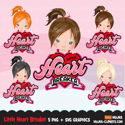 Valentine's Day Svg Png digital, Little heart breaker HTV sublimation image transfer clipart, t-shirt graphics, Little girl