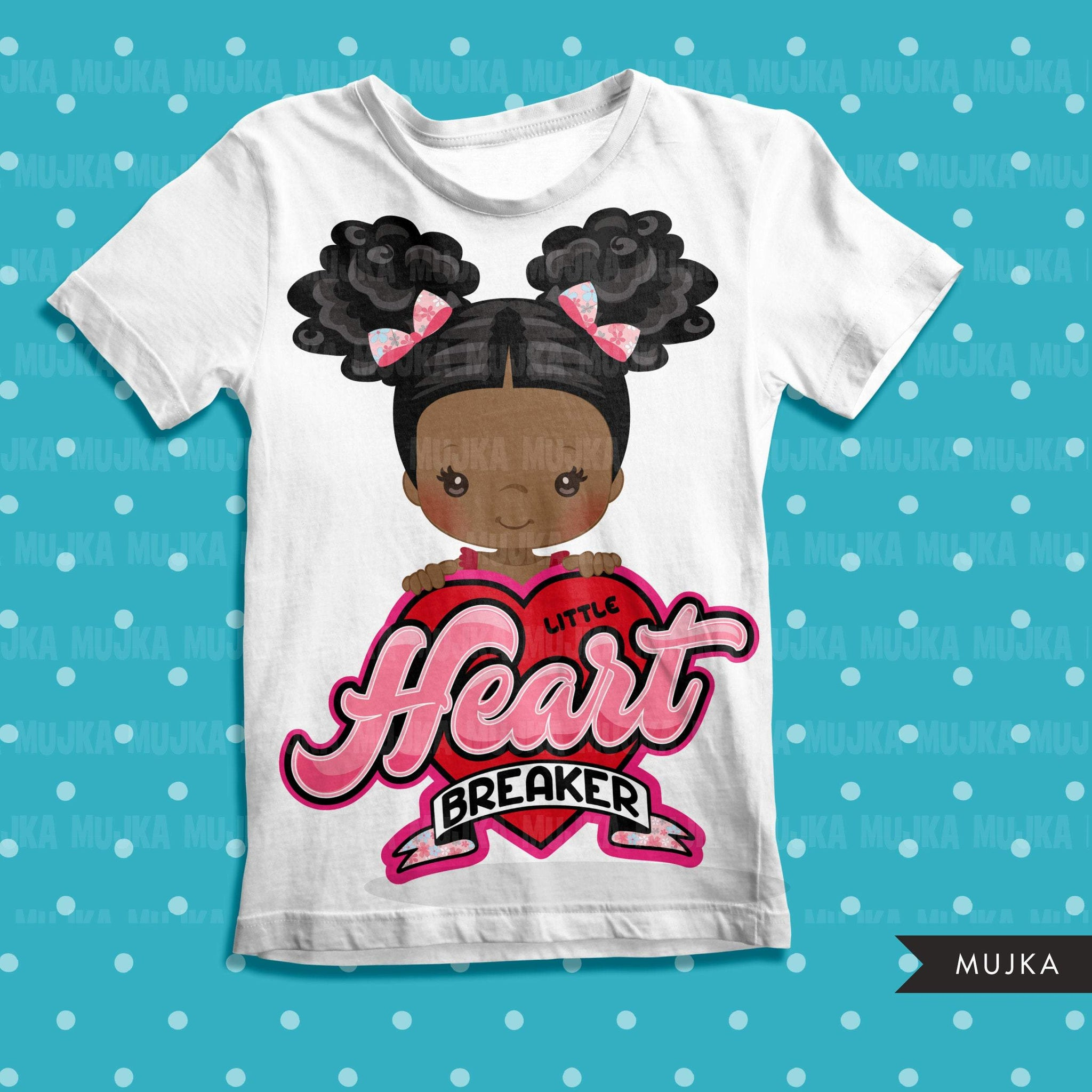 valentines day png digital little heart breaker sublimation image transfer clipart t-shirt graphics little black girl