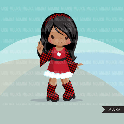 Christmas clipart, Santa little girls with plaid dress, commercial use graphics