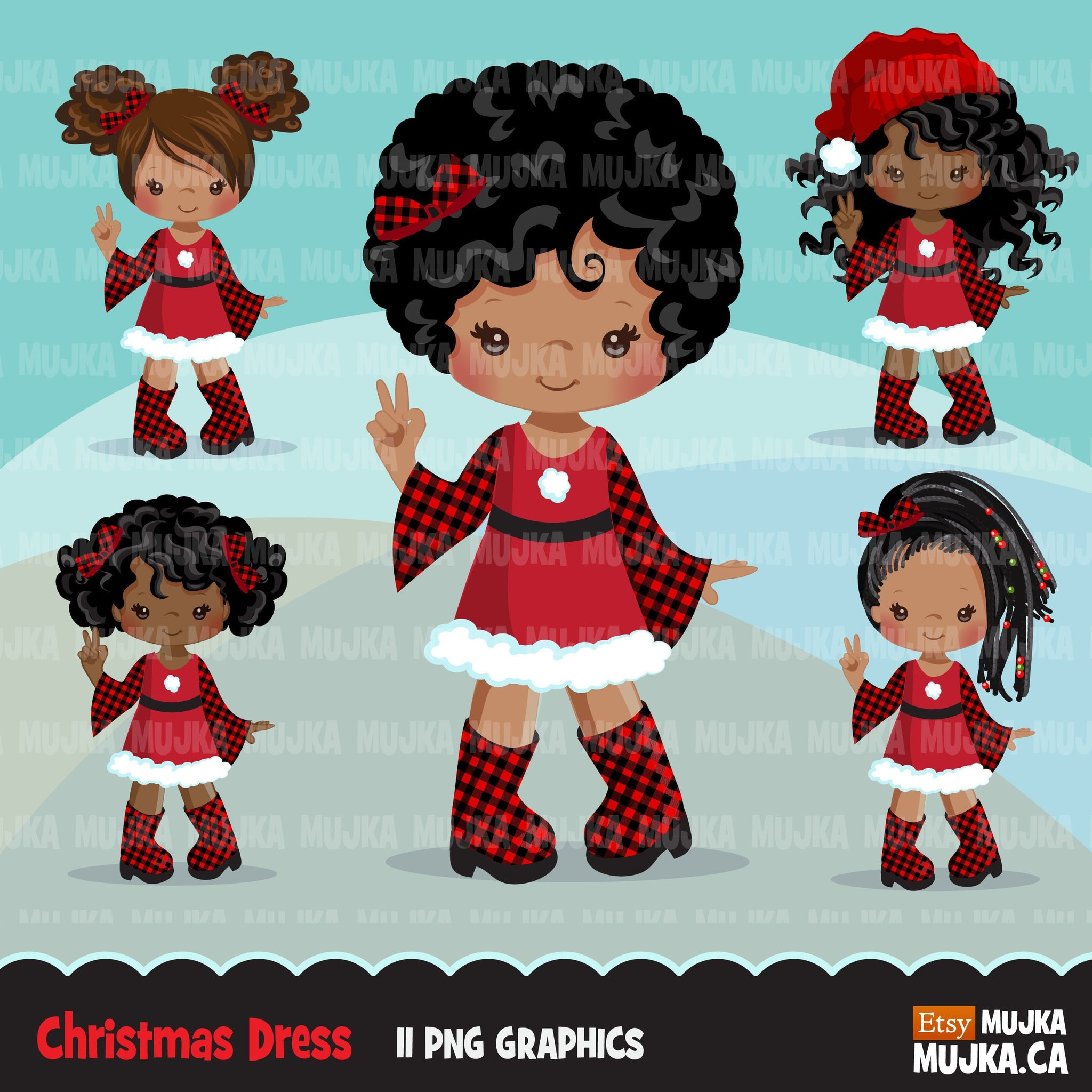Christmas clipart, Santa little black girls with plaid dress, commercial use graphics, afro plaid