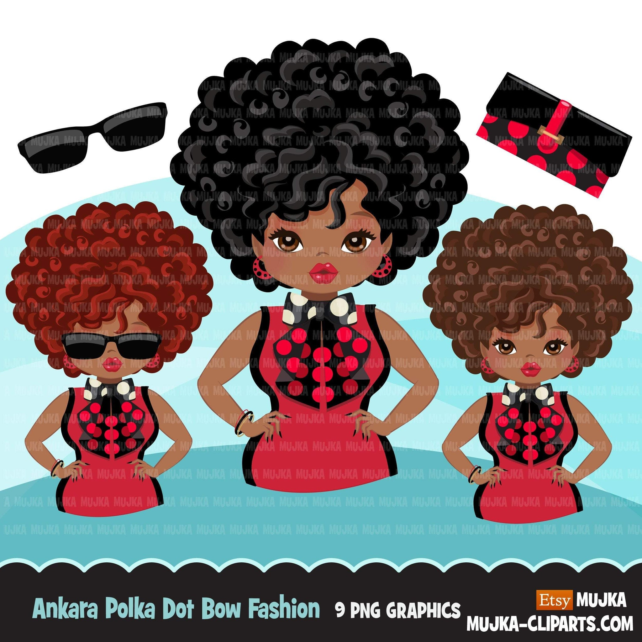 Black woman clipart avatar, Ankara polka dot print bow tie, fashion graphics shop logo boss afro girl clip art print and cut PNG