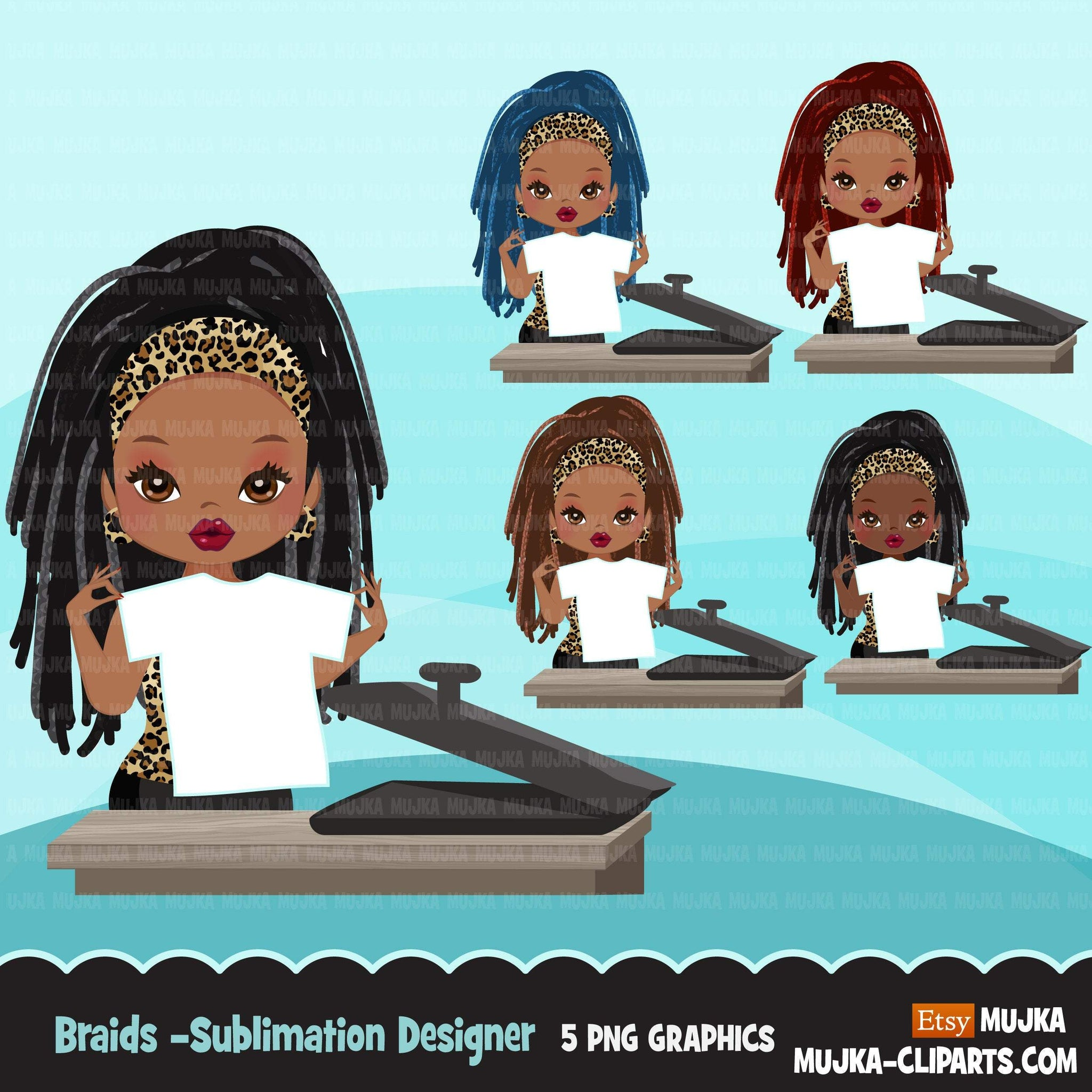 Braided hair little girl clipart chic characters black afro graphics card making cookie fashion