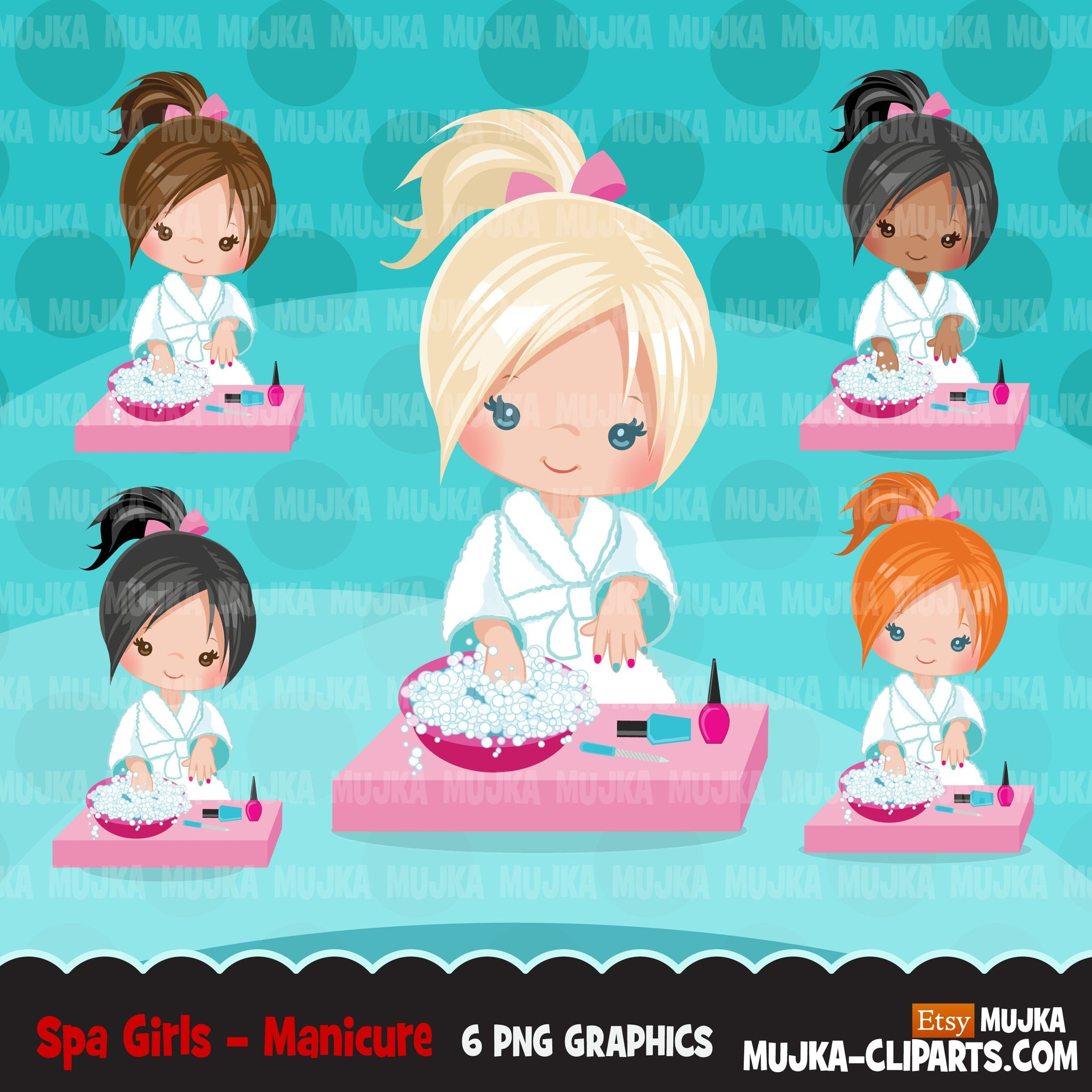 Spa clipart, manicure girl, bath, spa birthday party graphics nail polish, commercial use PNG  digital clip art