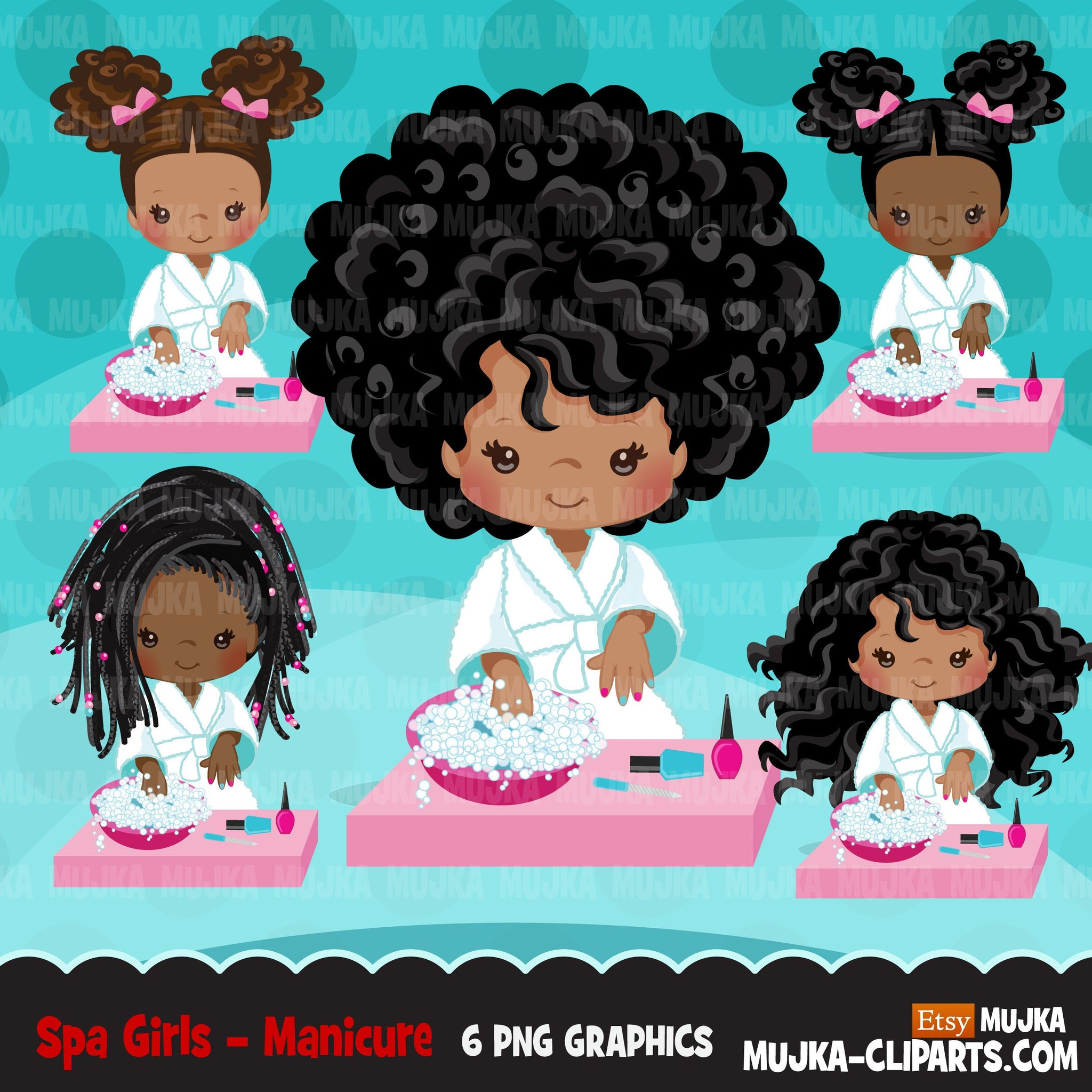 Spa clipart, manicure black girl, bath, spa birthday party graphics nail polish, commercial use PNG  digital clip art, afro kids