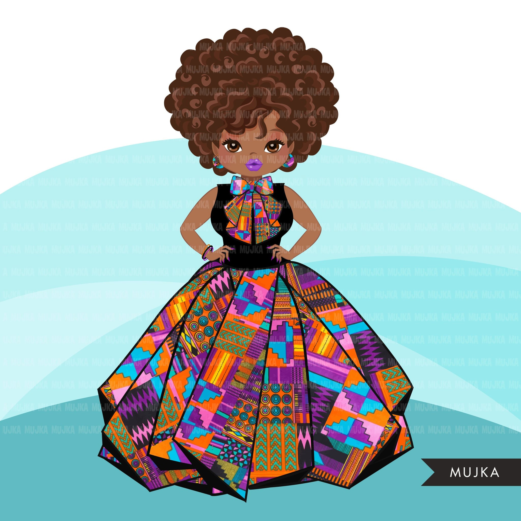 Black woman clipart avatar, Ankara kente multi-color print bow tie and skirt, fashion graphics shop logo boss afro girl clip art print and cut PNG