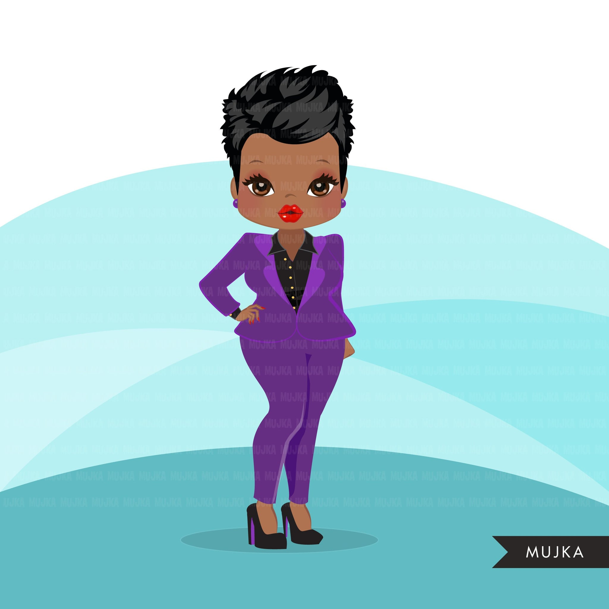 Afro woman clipart with purple business suit, briefcase and glasses black girl graphics, print and cut sublimation clip art