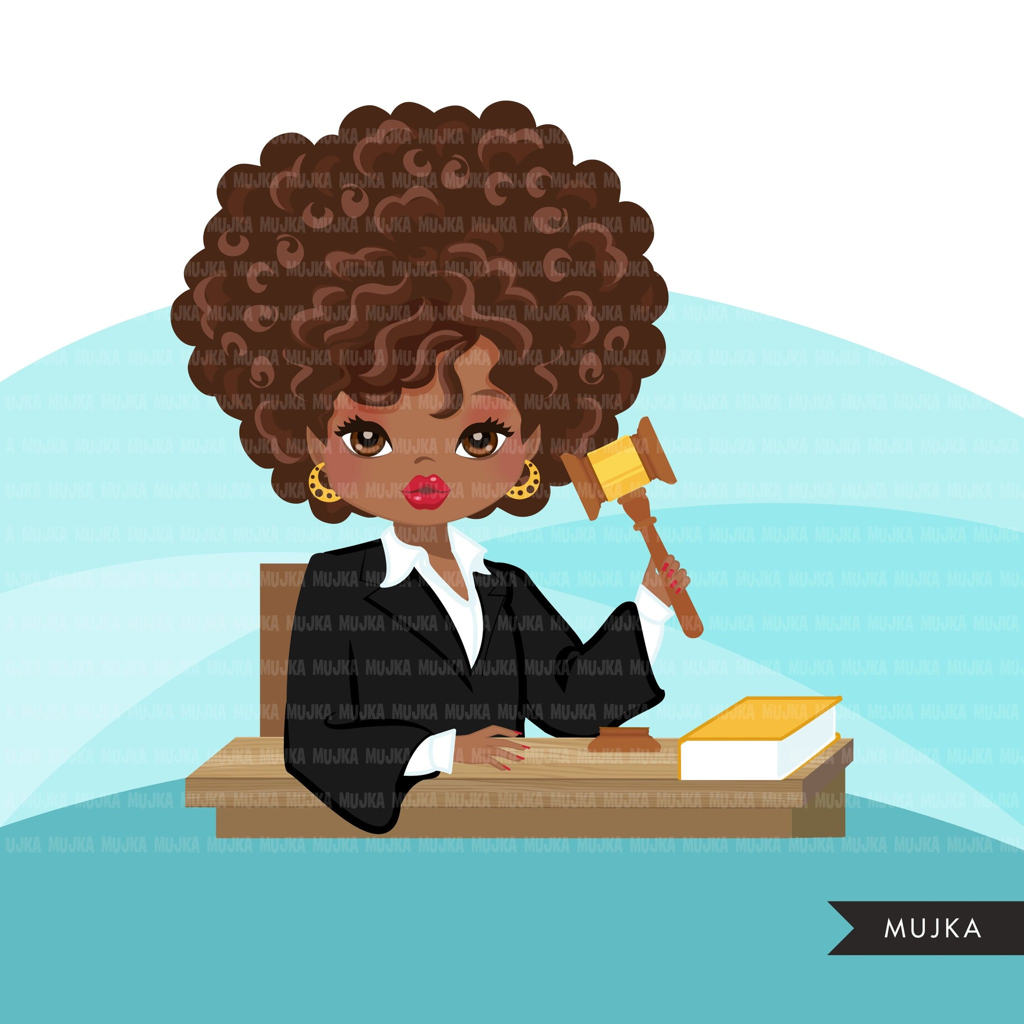 Afro Woman Judge avatar clipart with gavel and law book, print and cut, justice black girl clip art, court of law
