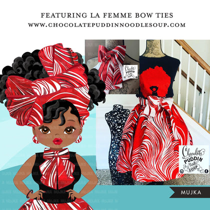 Black woman clipart avatar, Ankara Red white print bow tie and skirt, fashion graphics shop logo sorority Delta boss afro girl clip art PNG head wrap