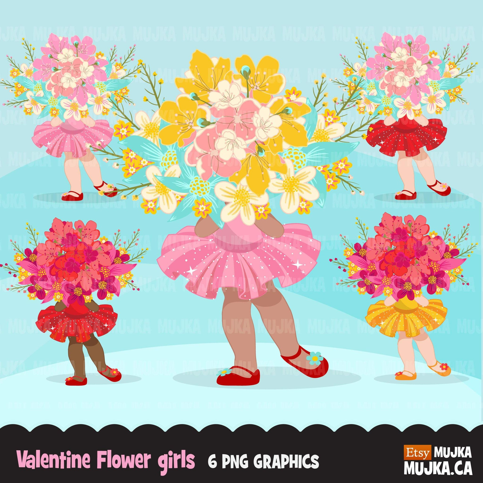 Valentine's Day flower girl clipart, pink tutu girls with a flower bouquet graphics, commercial use clip art