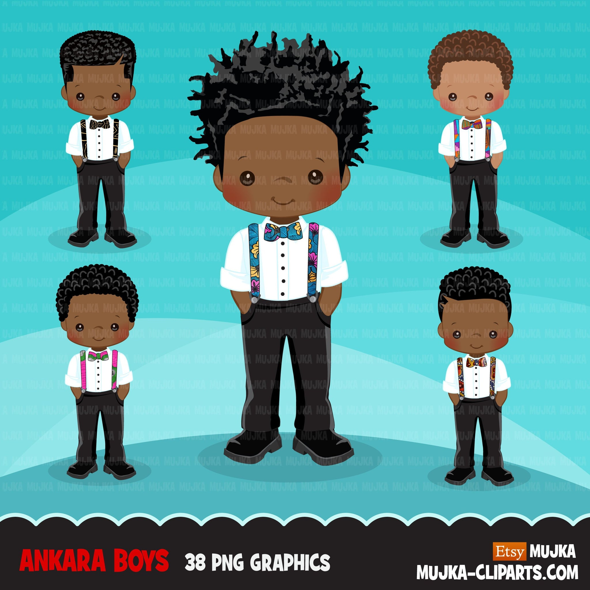 Black Boy clipart avatar, Ankara print bow tie suspenders, african fabric, black history graphics afro boy clip art PNG, mother's day MOM
