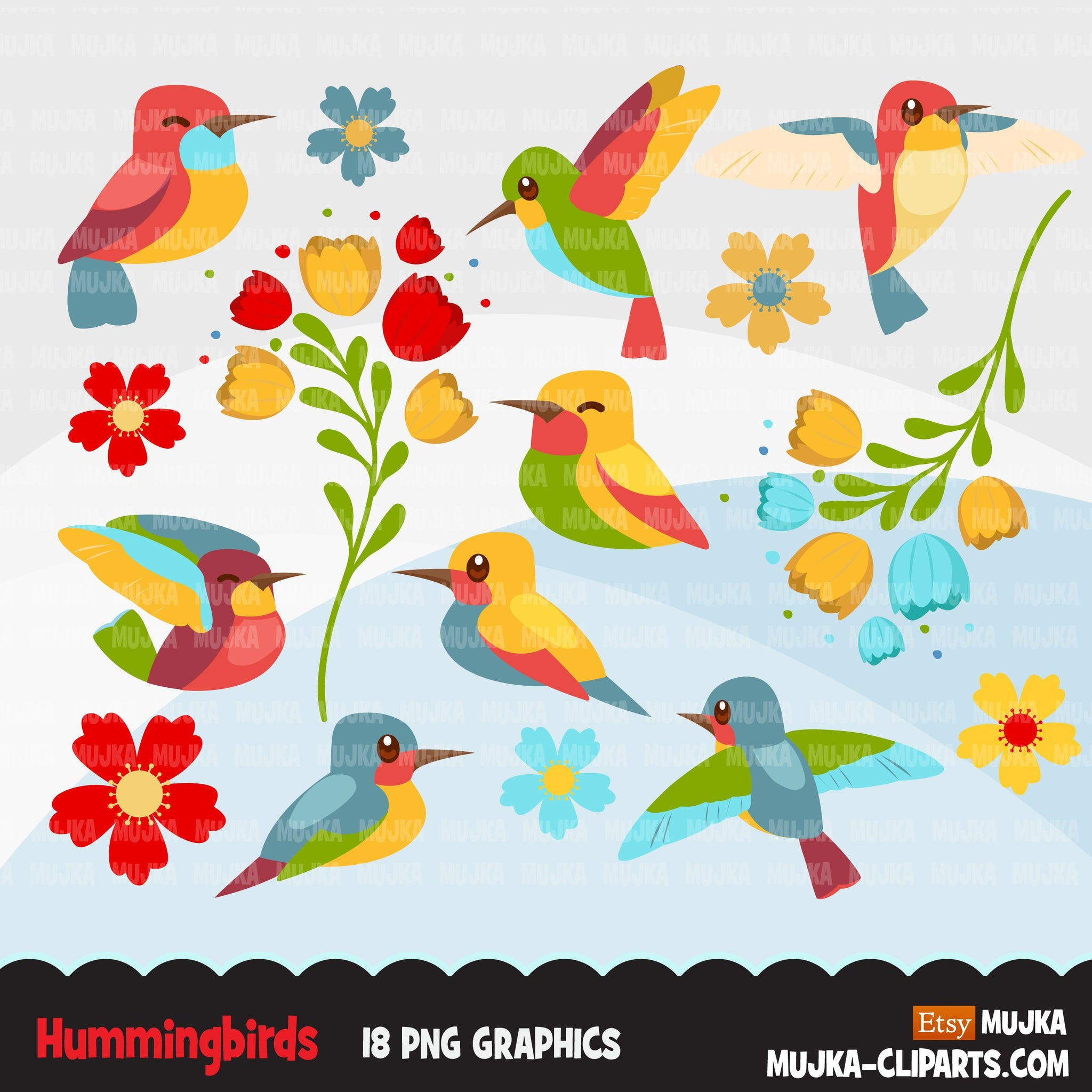 Hummingbird Clipart, colorful spring birds, valentine's day, easter graphics, flowers  commercial use digital PNG clip art