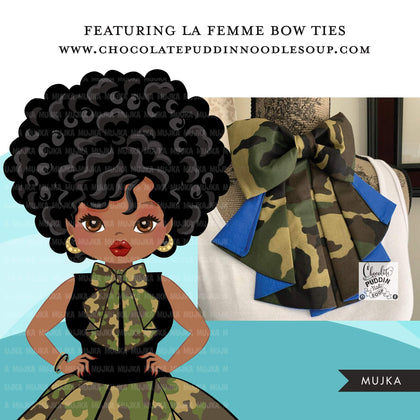 Black woman clipart avatar, Ankara camouflage print bow tie, pants and skirt, fashion graphics afro girl clip art PNG