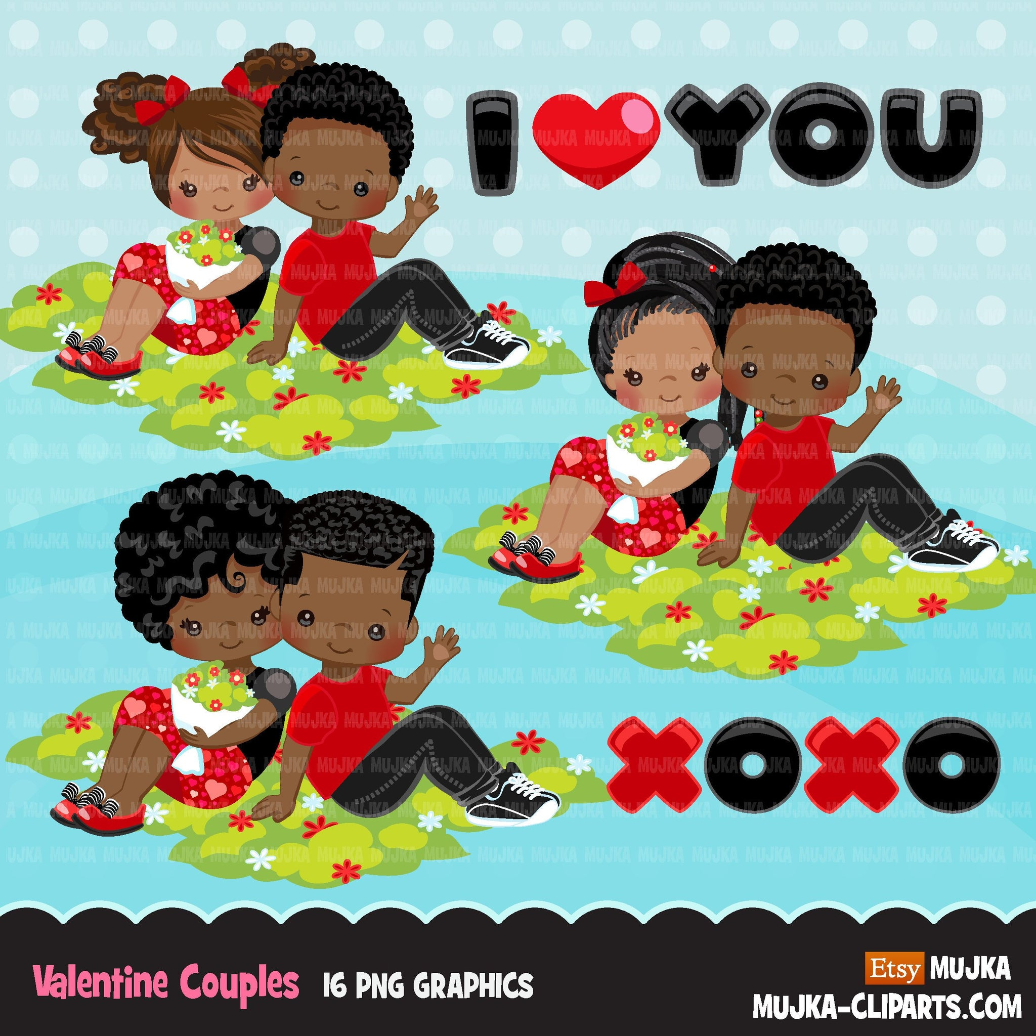 Valentine's Day Clipart, Cute Valentine black kids, couples sitting, XOXO valentine graphics, commercial use clip art