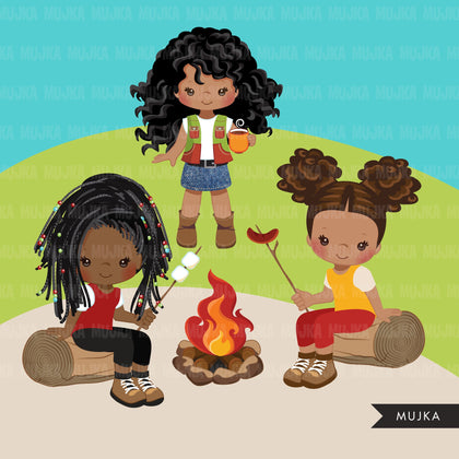 Black Girl Scouts camping clipart, campground, campfire, tent, outdoor graphics, commercial use Png clip art