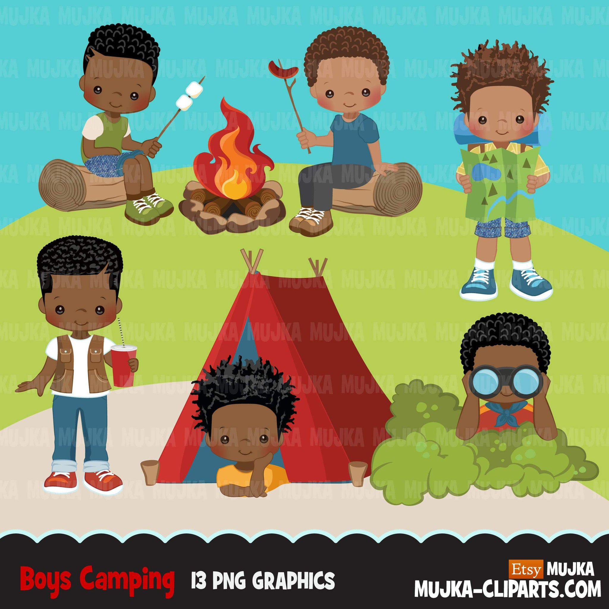 Black Boy Scouts camping clipart, campground, campfire, tent, outdoor graphics, commercial use Png clip art