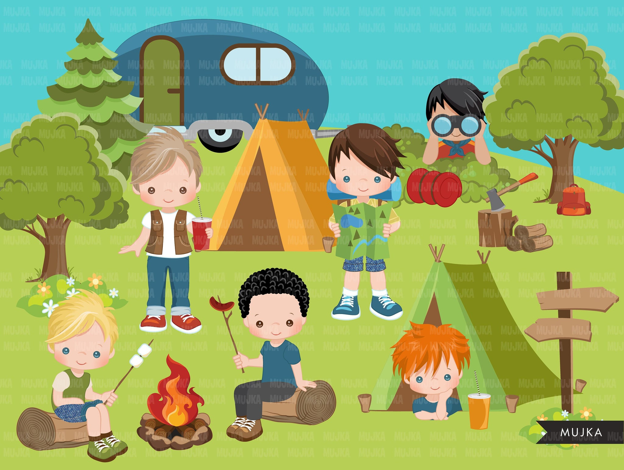 Scouts camping clipart, campground, campfire, tent, camper van, forest background, trees, outdoor graphics, commercial use Png clip art