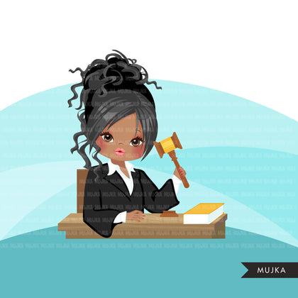 Woman Judge avatar clipart with gavel and law book, print and cut, justice girl clip art, court of law