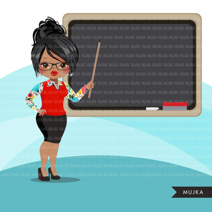 Teacher avatar clipart with blackboard, print and cut, education graphics, girl clip art, school teaching