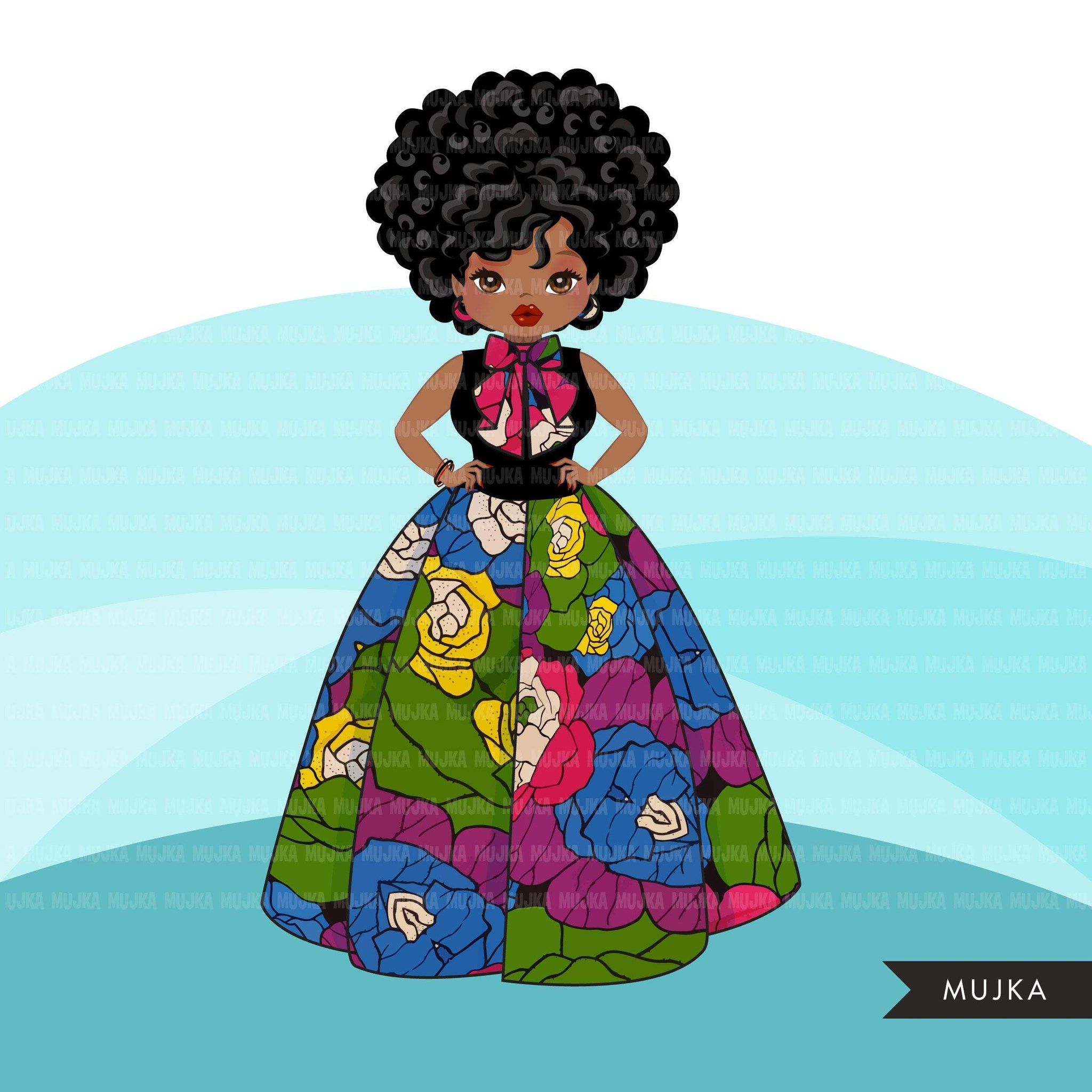 Black woman clipart avatar, Ankara flower print skirt, and bowtie fashion graphics sorority afro girl clip art PNG