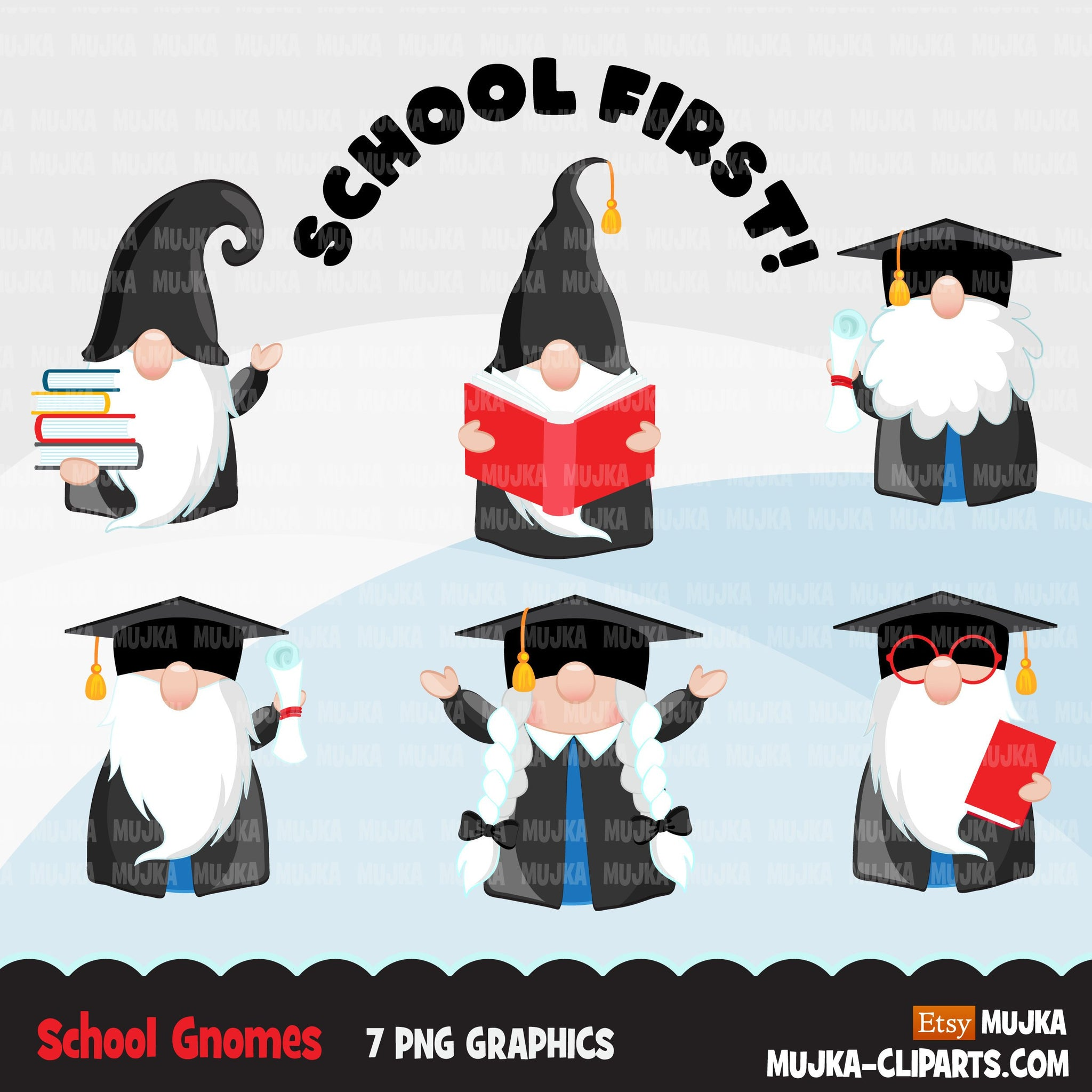 School gnomes clipart, student reading book, graduation clip art, teacher, professor, grad commercial use Png