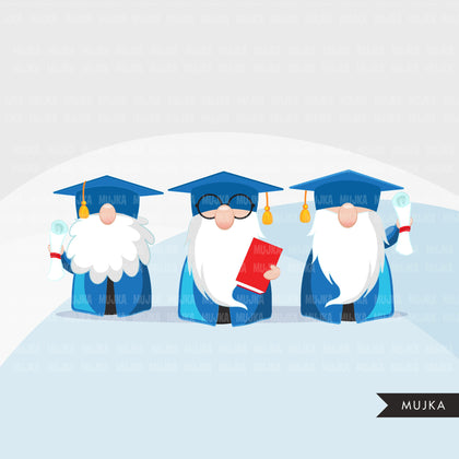 Graduation gnomes clipart, student reading book, school clip art, teacher, professor, grad commercial use Png blue