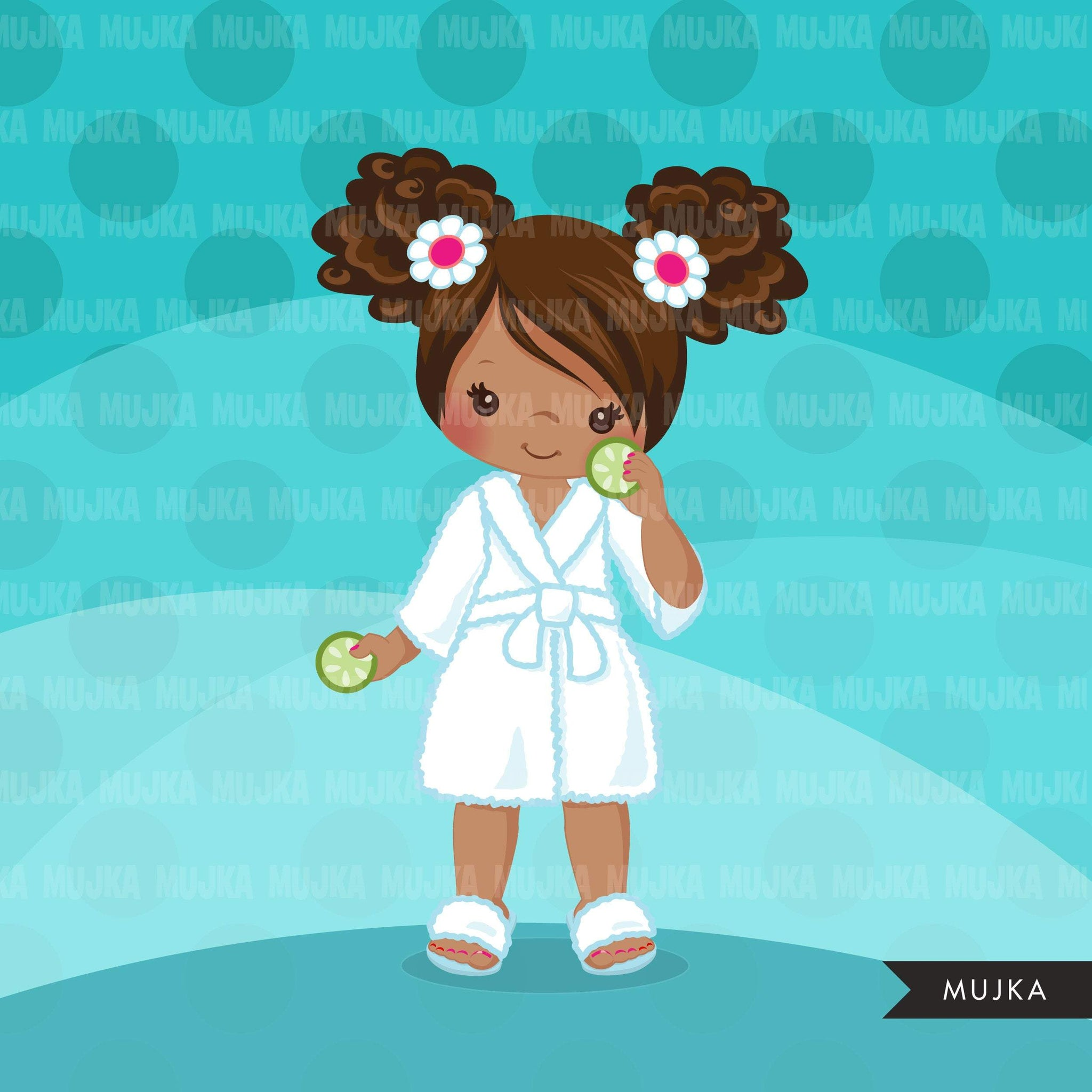 Spa clipart, party black girl clipart graphics, bath, bathrobe, cucumber, spa birthday graphics, commercial use clip art