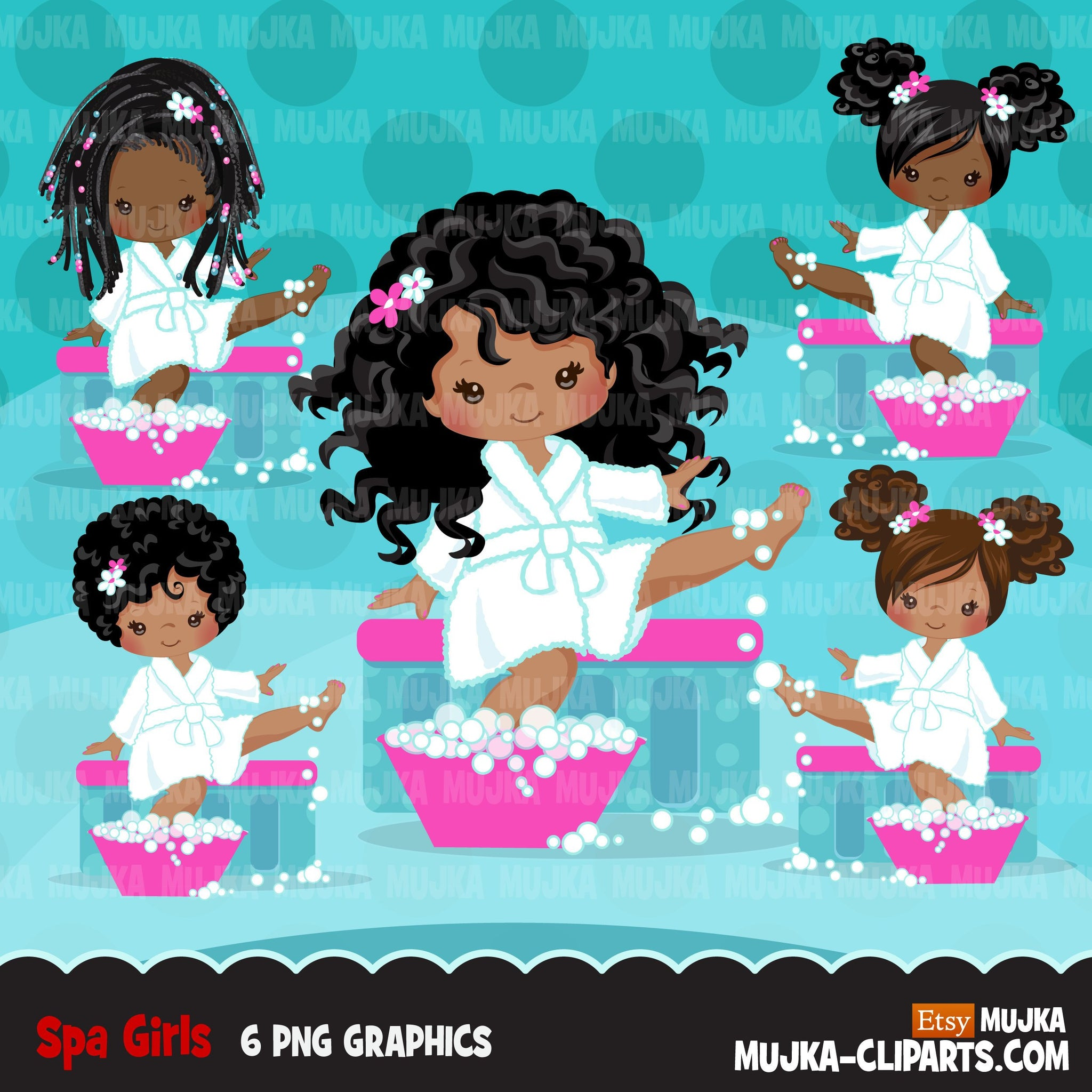 Spa clipart, party black girl graphics, bath, nail polish, spa birthday graphics, soaking feet, commercial use clip art