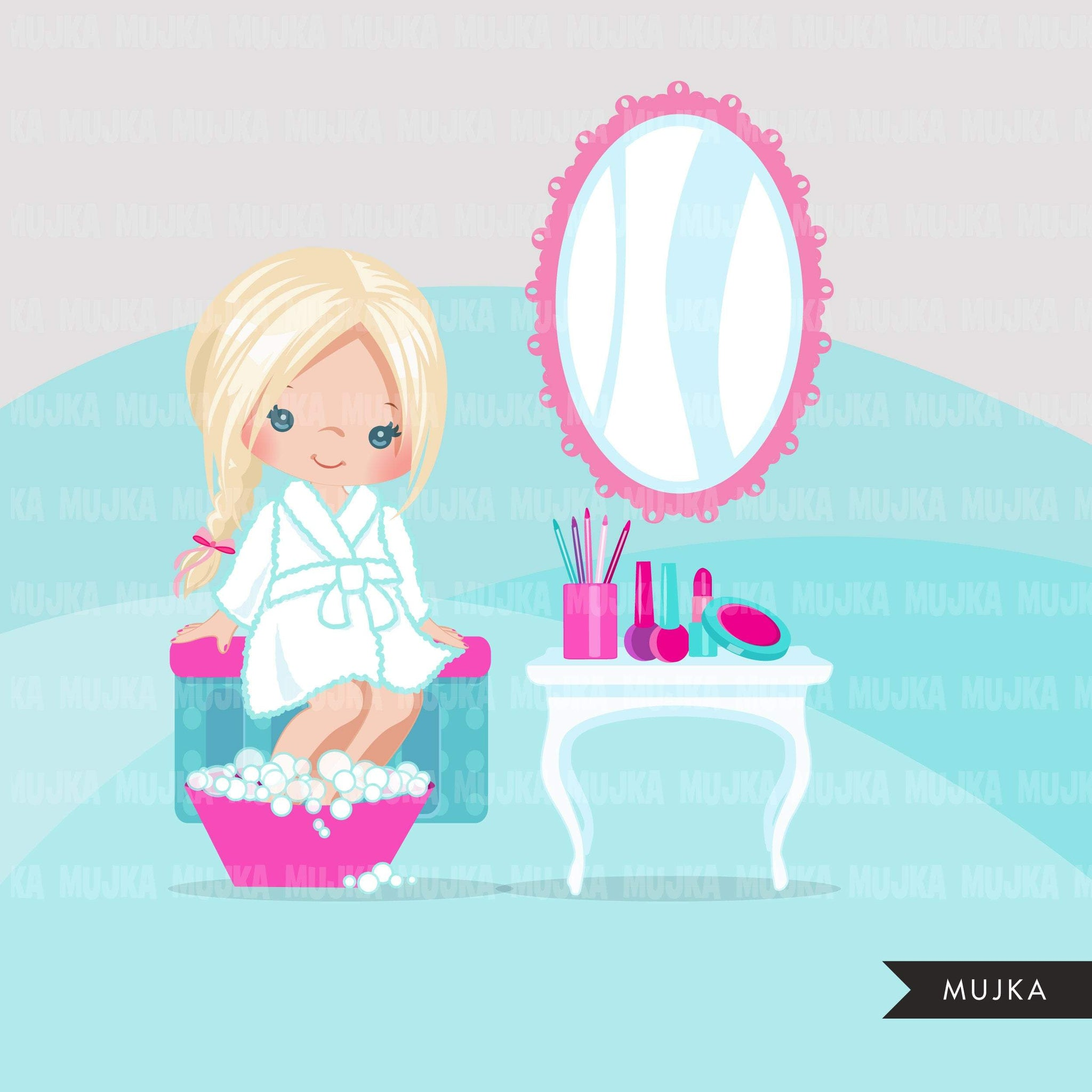 Spa clipart, spa elements party black girl graphics, bubble bath, bathtub, nail polish, spa birthday , graphics,  commercial use clip art