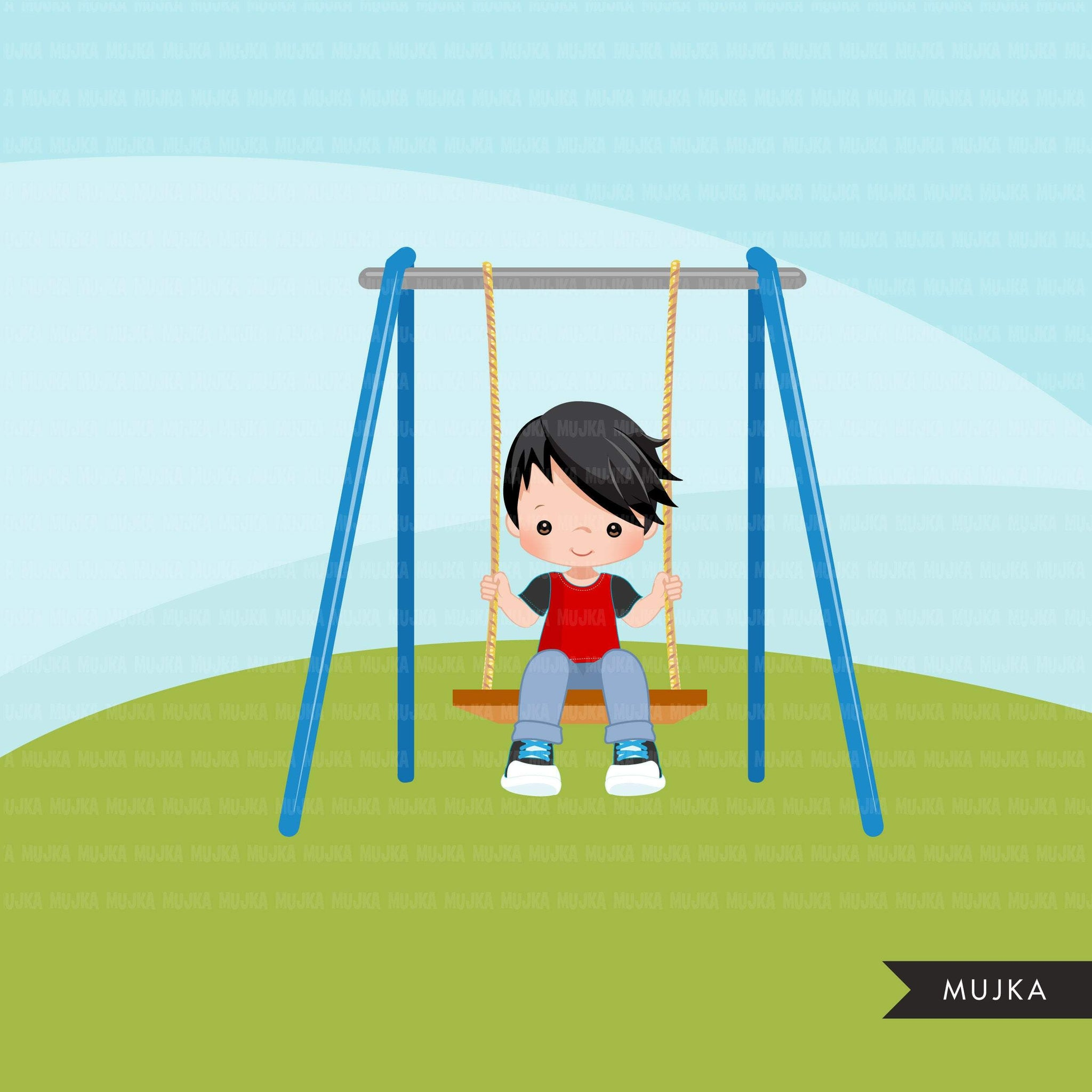 Playground Clipart, boy swinging, spring, outdoors park swing graphics, commercial use Png clip art