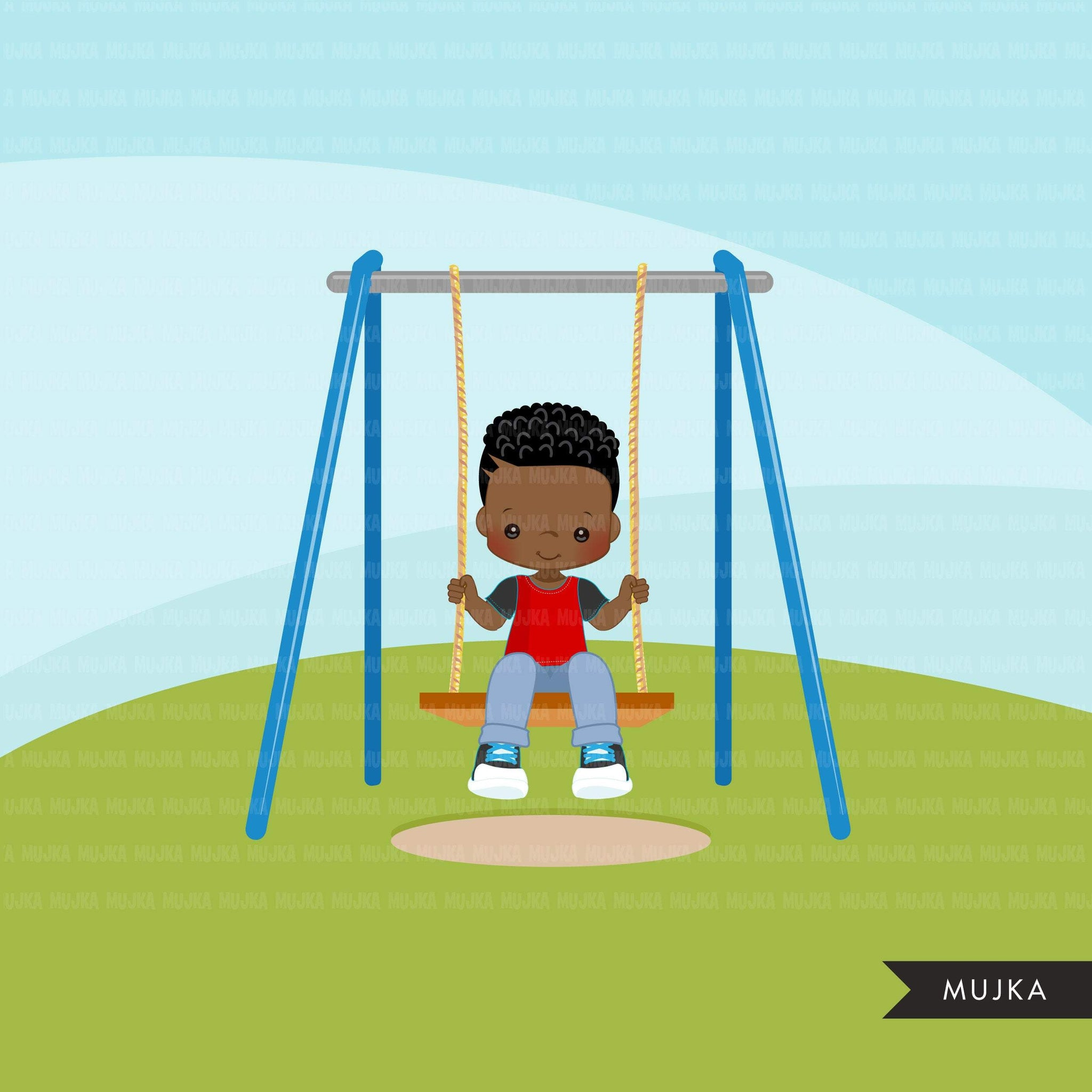 Playground Clipart, black boy swinging, spring, outdoors park swing graphics, commercial use Png clip art