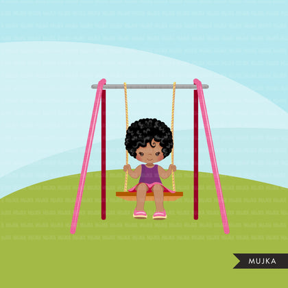 Playground Clipart, black girl swinging, spring, outdoors park swing graphics, commercial use Png clip art