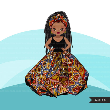 Black woman clipart avatar, Ankara kente African print head wrap and skirt, fashion graphics braids girl clip art PNG