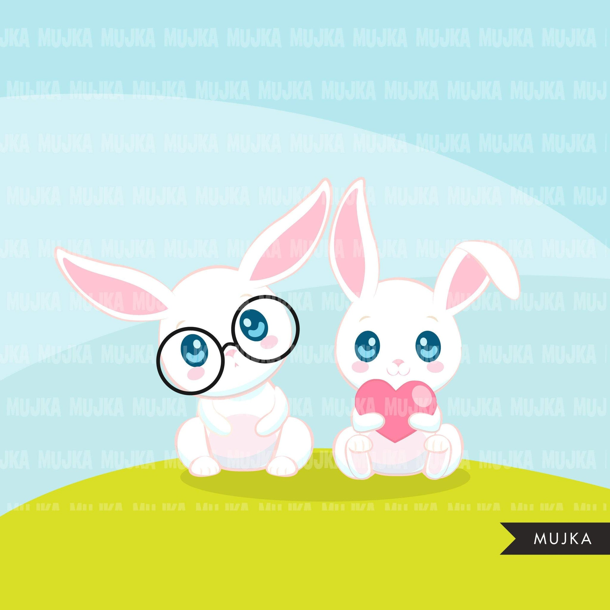 Easter Bunny Clipart, Cute rabbit with Easter egg, animal graphics  commercial use digital PNG clip art