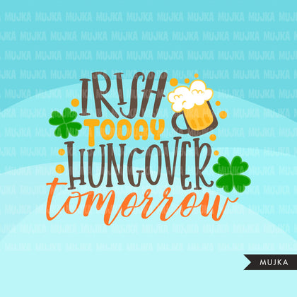 St Patricks Day Quotes Clipart, Lucky Irish, gold clover, beer graphics, commercial use clip art