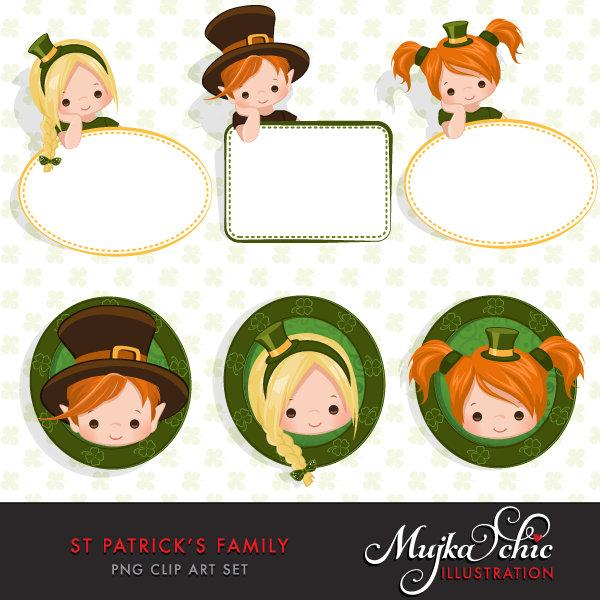 St Patricks Day Clipart Bundle, Gnomes, animals, kids,and matching quote graphics commercial use PNG clip art